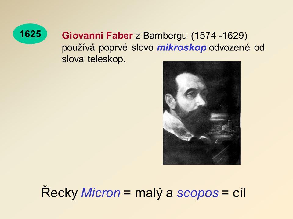 Řecky Micron = malý a scopos = cíl Giovanni Faber z Bambergu (1574 -1629) používá poprvé slovo mikroskop odvozené od slova teleskop.