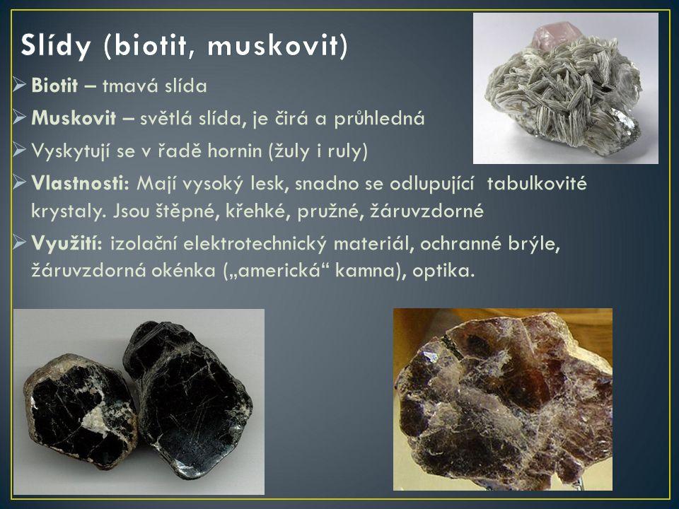 Mastek  Barva: bílá, zelenavá  Vzhled krystalu: lupínkovitý, šupinkovitý  Lesk: mastný až perleťový  Vryp: bílý  Dokonale štěpný v jednom směru  Tvrdost 1: lze rýpat nehtem  Nerozpustný v kyselinách Využití: mletý mastek do výrobků z gumy (rukavice, nafukovací lehátka, čluny)
