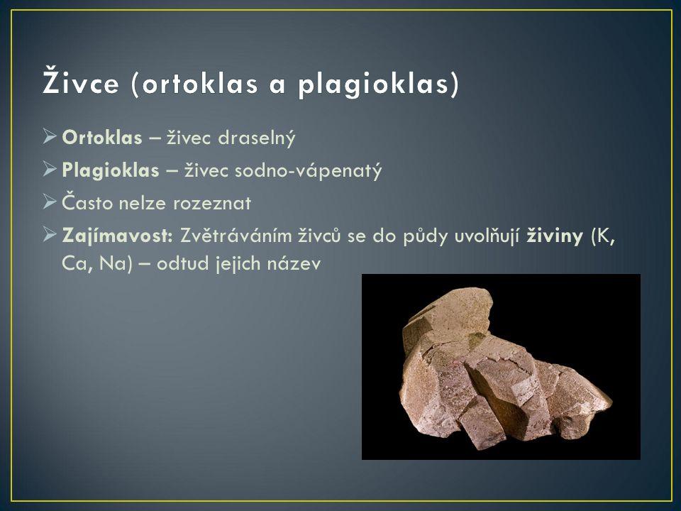  Ortoklas – živec draselný  Plagioklas – živec sodno-vápenatý  Často nelze rozeznat  Zajímavost: Zvětráváním živců se do půdy uvolňují živiny (K, Ca, Na) – odtud jejich název