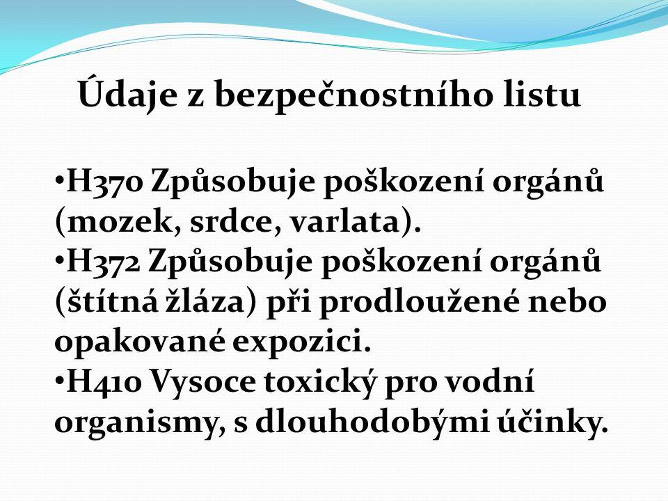 Údaje z bezpečnostního listu H370 Způsobuje poškození orgánů (mozek, srdce, varlata). H372 Způsobuje poškození orgánů (štítná žláza) při prodloužené n