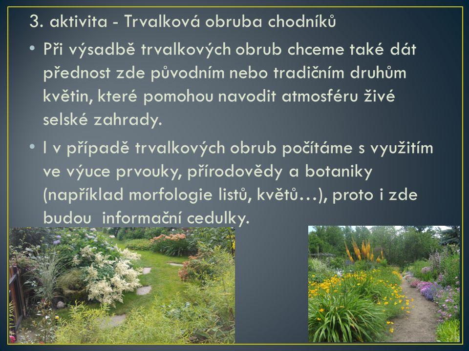 3. aktivita - Trvalková obruba chodníků Při výsadbě trvalkových obrub chceme také dát přednost zde původním nebo tradičním druhům květin, které pomoho