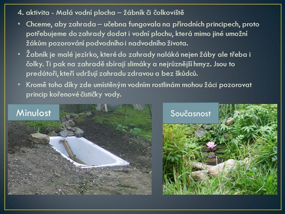 4. aktivita - Malá vodní plocha – žábník či čolkoviště Chceme, aby zahrada – učebna fungovala na přírodních principech, proto potřebujeme do zahrady d