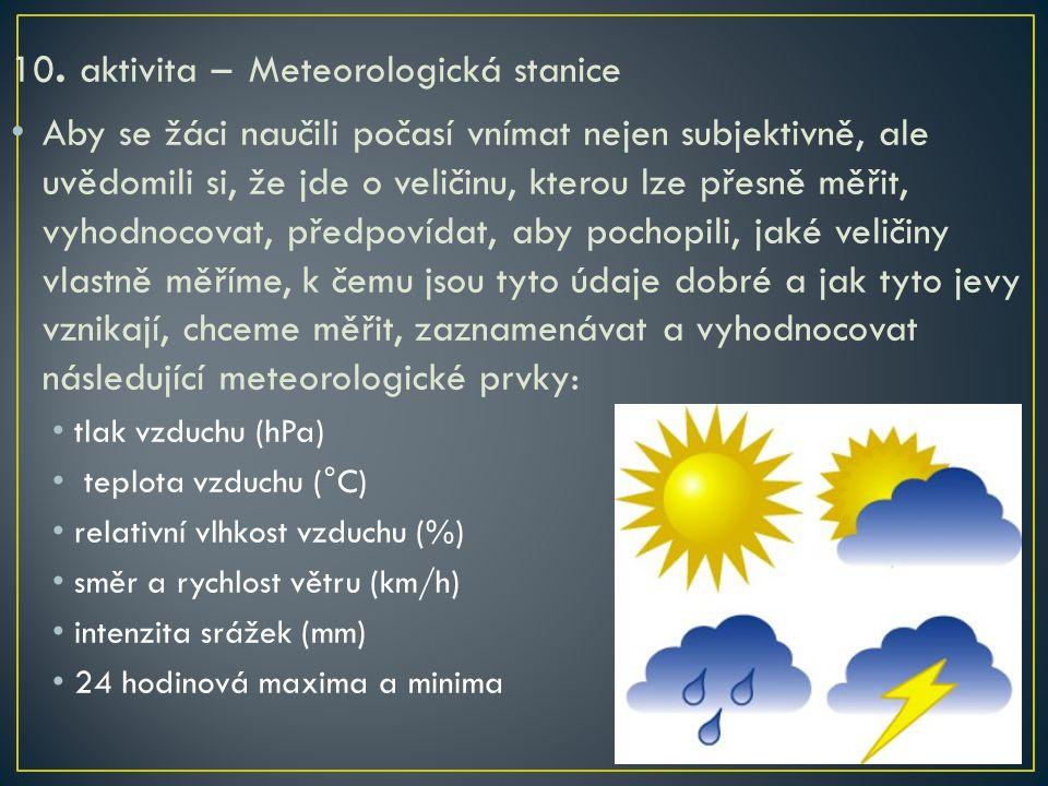 10. aktivita – Meteorologická stanice Aby se žáci naučili počasí vnímat nejen subjektivně, ale uvědomili si, že jde o veličinu, kterou lze přesně měři
