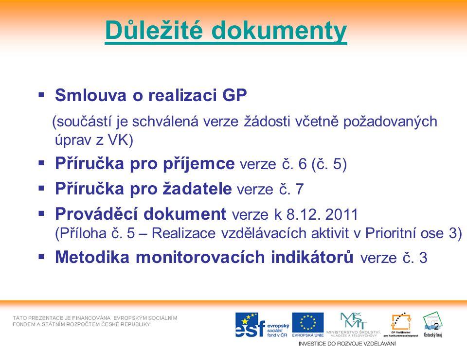 2 Důležité dokumenty  Smlouva o realizaci GP (součástí je schválená verze žádosti včetně požadovaných úprav z VK)  Příručka pro příjemce verze č.