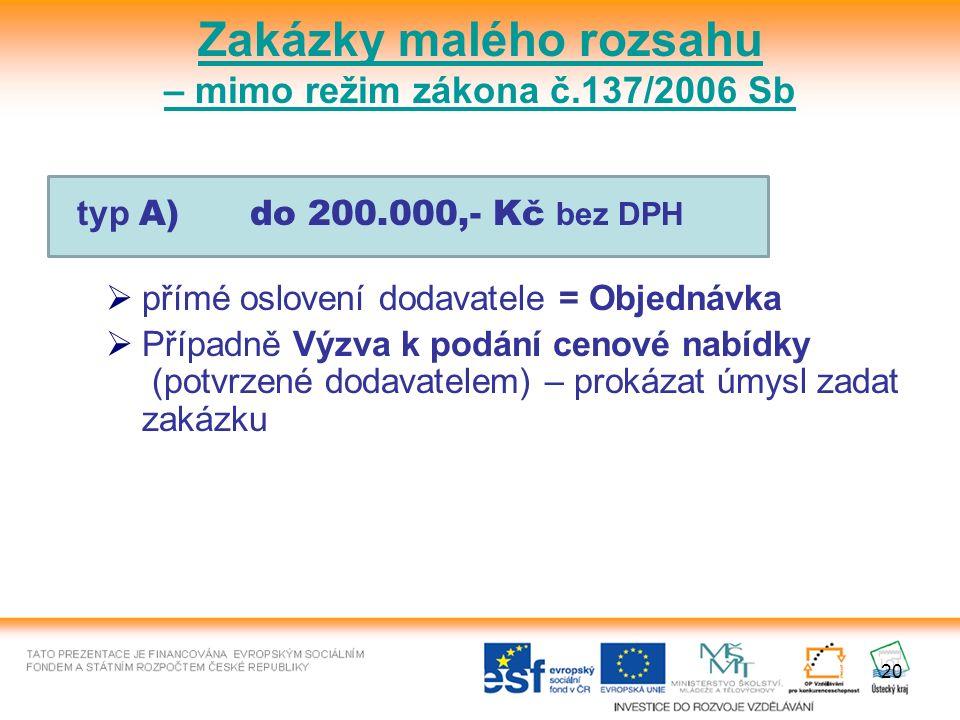 20 typ A) do 200.000,- Kč bez DPH  přímé oslovení dodavatele = Objednávka  Případně Výzva k podání cenové nabídky (potvrzené dodavatelem) – prokázat úmysl zadat zakázku Zakázky malého rozsahu – mimo režim zákona č.137/2006 Sb