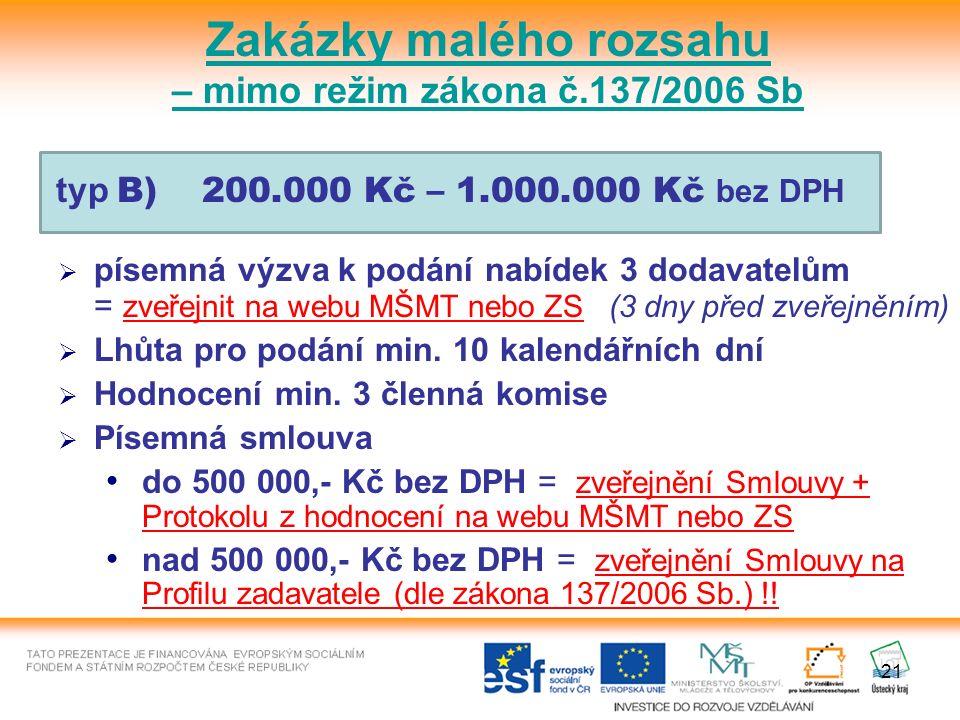 21 typ B) 200.000 Kč – 1.000.000 Kč bez DPH  písemná výzva k podání nabídek 3 dodavatelům = zveřejnit na webu MŠMT nebo ZS (3 dny před zveřejněním)  Lhůta pro podání min.