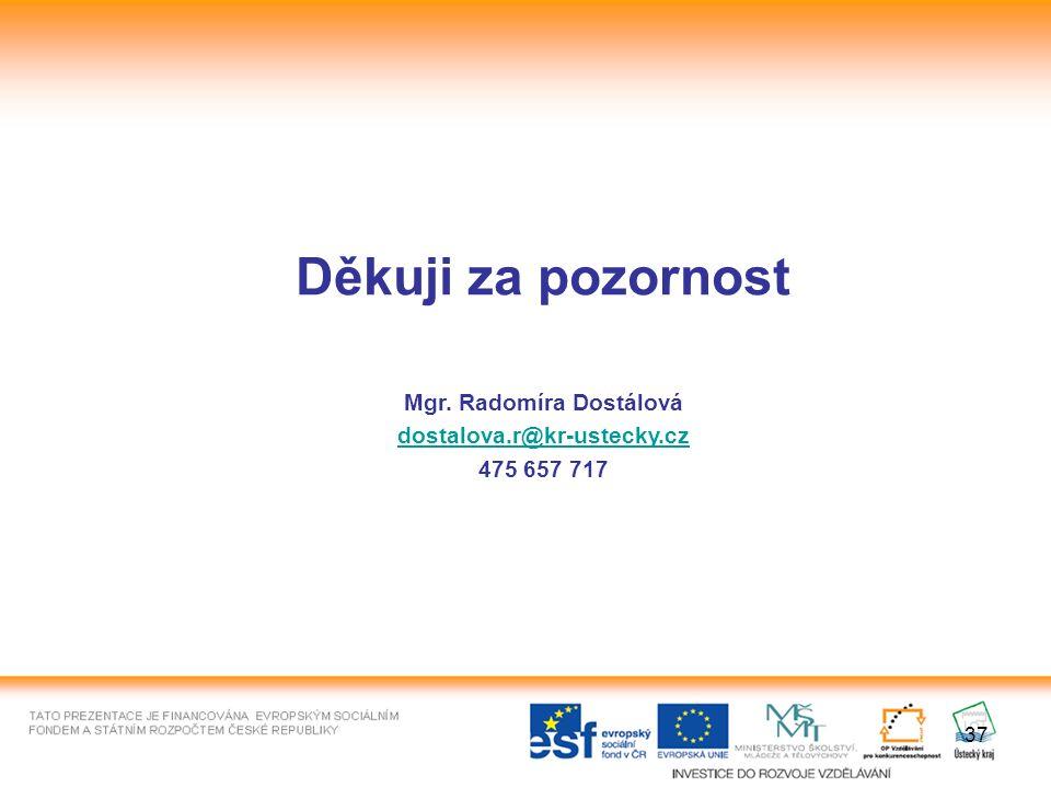 37 Děkuji za pozornost Mgr. Radomíra Dostálová dostalova.r@kr-ustecky.cz 475 657 717