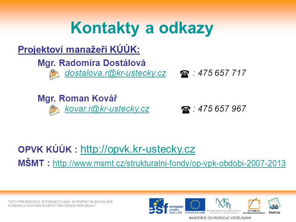 38 Kontakty a odkazy Projektoví manažeři KÚÚK: Mgr.