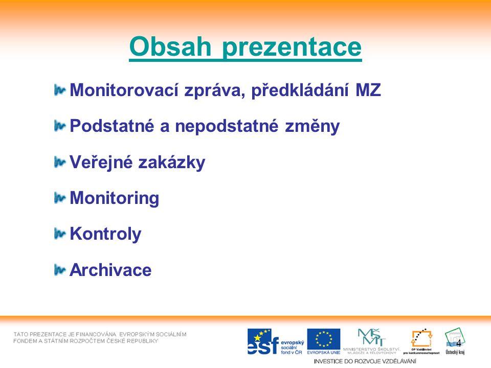 4 Monitorovací zpráva, předkládání MZ Podstatné a nepodstatné změny Veřejné zakázky Monitoring Kontroly Archivace Obsah prezentace