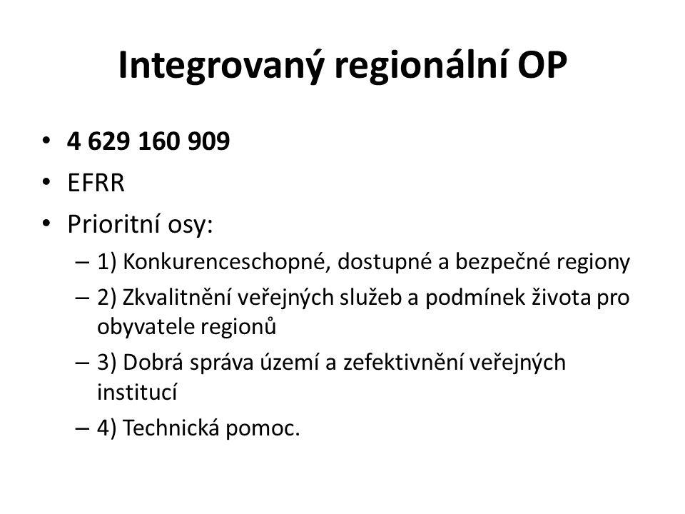 Integrovaný regionální OP 4 629 160 909 EFRR Prioritní osy: – 1) Konkurenceschopné, dostupné a bezpečné regiony – 2) Zkvalitnění veřejných služeb a podmínek života pro obyvatele regionů – 3) Dobrá správa území a zefektivnění veřejných institucí – 4) Technická pomoc.