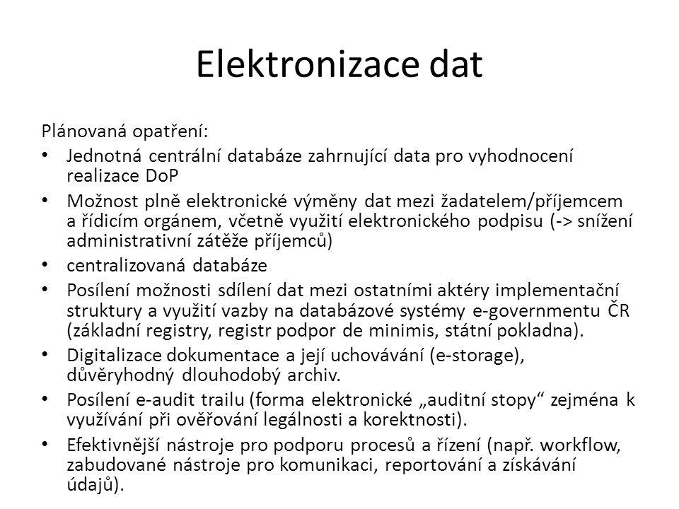 Elektronizace dat Plánovaná opatření: Jednotná centrální databáze zahrnující data pro vyhodnocení realizace DoP Možnost plně elektronické výměny dat mezi žadatelem/příjemcem a řídicím orgánem, včetně využití elektronického podpisu (-> snížení administrativní zátěže příjemců) centralizovaná databáze Posílení možnosti sdílení dat mezi ostatními aktéry implementační struktury a využití vazby na databázové systémy e-governmentu ČR (základní registry, registr podpor de minimis, státní pokladna).