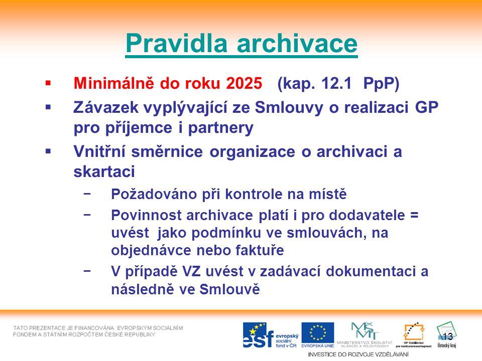 13 Pravidla archivace  Minimálně do roku 2025 (kap.