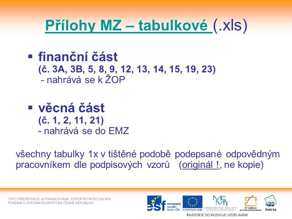 22 Přílohy MZ – tabulkové (.xls)  finanční část (č.