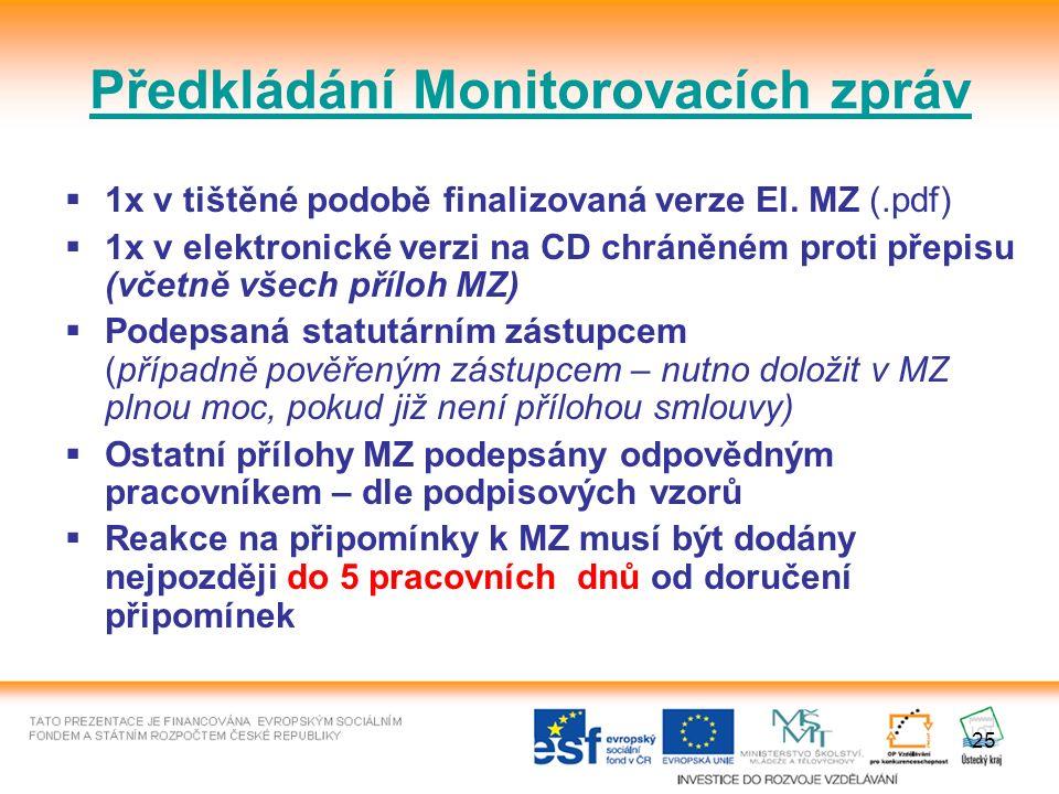 25 Předkládání Monitorovacích zpráv  1x v tištěné podobě finalizovaná verze El.