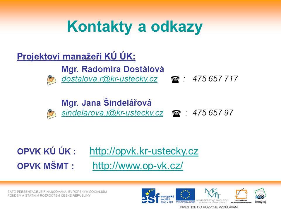 28 Kontakty a odkazy Projektoví manažeři KÚ ÚK: Mgr.