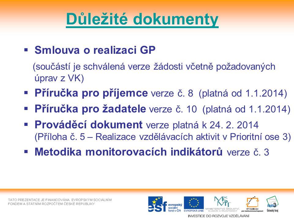 3 Důležité dokumenty  Smlouva o realizaci GP (součástí je schválená verze žádosti včetně požadovaných úprav z VK)  Příručka pro příjemce verze č.