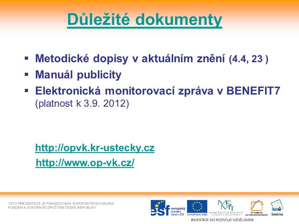 4  Metodické dopisy v aktuálním znění (4.4, 23 )  Manuál publicity  Elektronická monitorovací zpráva v BENEFIT7 (platnost k 3.9.