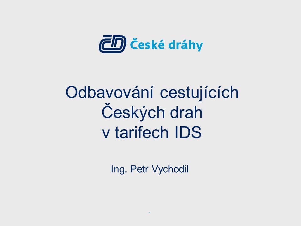 2 Obecné základní principy účasti ČD v IDS ▪Jednotný regionální dopravní systém založený na preferenci páteřní kolejové dopravy ▪Jednotný a jednoznačný přepravně tarifní systém umožňující zachování technologické kompatibility při odbavení a kontrole na železnici ▪Jednoznačná vůle objednatelů regionální dopravy k integraci ČD při zachování zájmů MD v oblasti dálkové dopravy