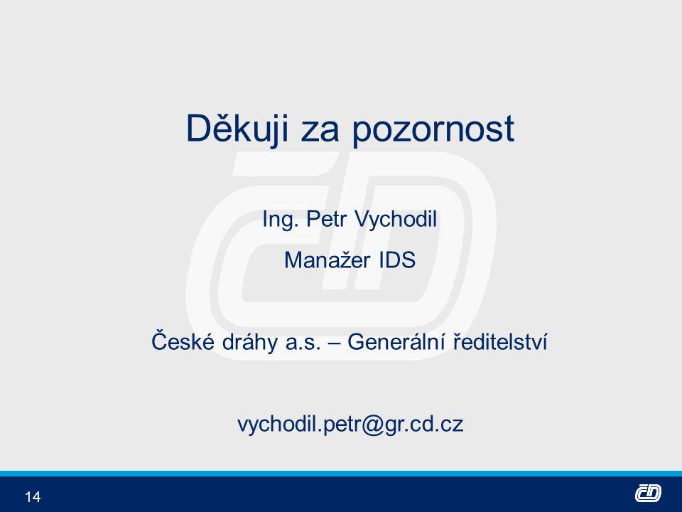 14 Děkuji za pozornost Ing. Petr Vychodil Manažer IDS České dráhy a.s.