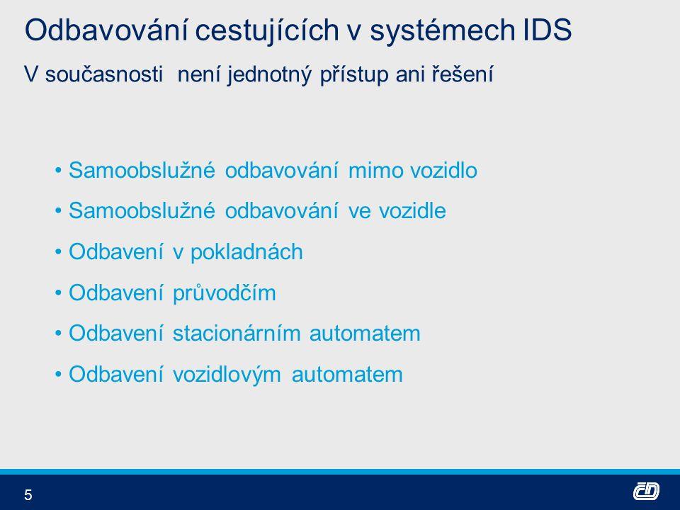 5 Odbavování cestujících v systémech IDS V současnosti není jednotný přístup ani řešení Samoobslužné odbavování mimo vozidlo Samoobslužné odbavování ve vozidle Odbavení v pokladnách Odbavení průvodčím Odbavení stacionárním automatem Odbavení vozidlovým automatem