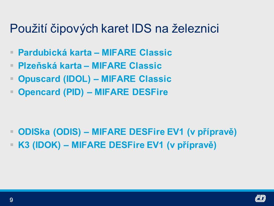 9 Použití čipových karet IDS na železnici  Pardubická karta – MIFARE Classic  Plzeňská karta – MIFARE Classic  Opuscard (IDOL) – MIFARE Classic  Opencard (PID) – MIFARE DESFire  ODISka (ODIS) – MIFARE DESFire EV1 (v přípravě)  K3 (IDOK) – MIFARE DESFire EV1 (v přípravě)