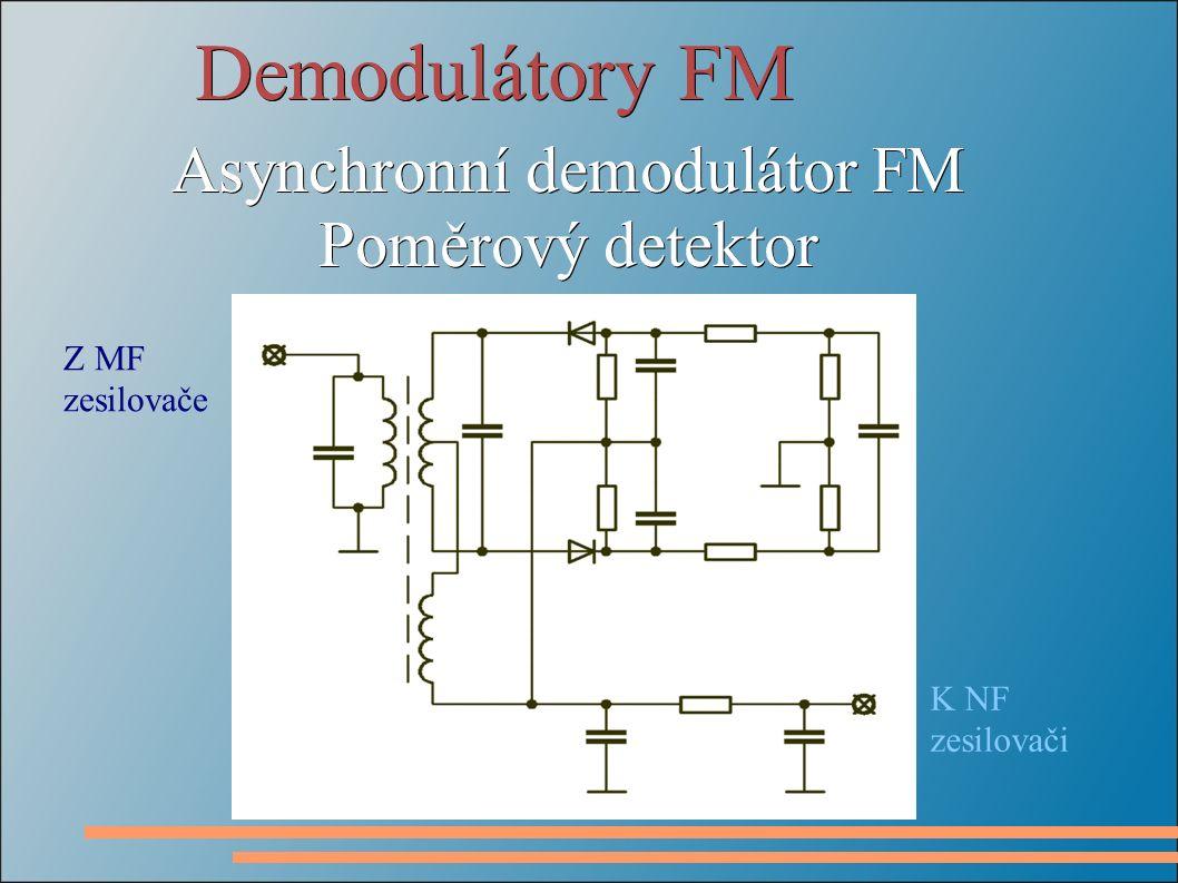 Demodulátory FM Asynchronní demodulátor FM Poměrový detektor Z MF zesilovače K NF zesilovači