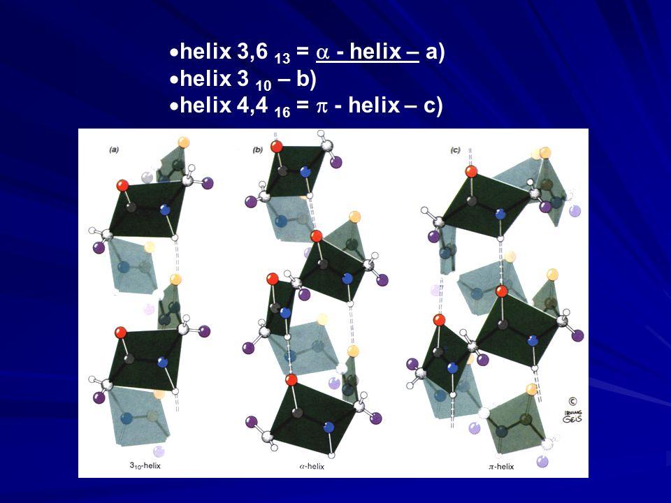  helix 3,6 13 =  - helix – a)  helix 3 10 – b)  helix 4,4 16 =  - helix – c)