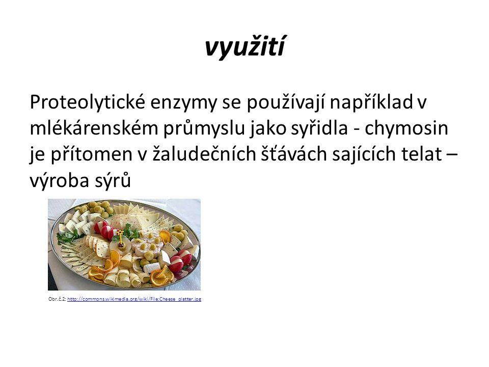 využití Proteolytické enzymy se používají například v mlékárenském průmyslu jako syřidla - chymosin je přítomen v žaludečních šťávách sajících telat – výroba sýrů Obr.č.2: http://commons.wikimedia.org/wiki/File:Cheese_platter.jpghttp://commons.wikimedia.org/wiki/File:Cheese_platter.jpg
