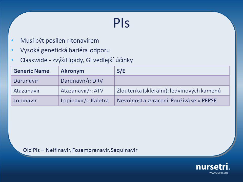PIs Generic NameAkronymS/E DarunavirDarunavir/r; DRV AtazanavirAtazanavir/r; ATVŽloutenka (sklerální); ledvinových kamenů LopinavirLopinavir/r; Kaletr