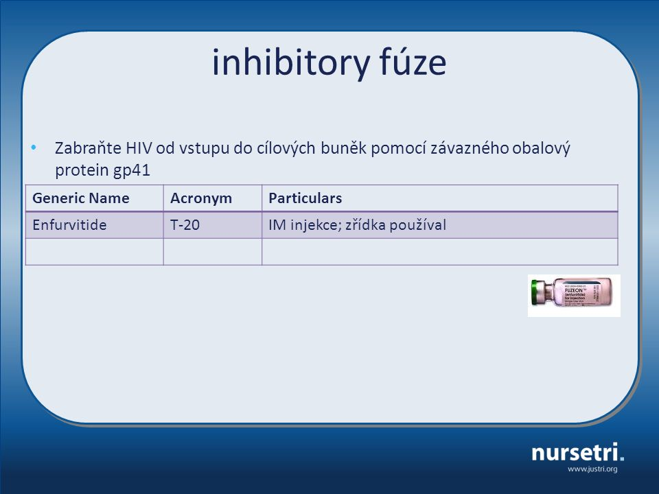 inhibitory fúze Generic NameAcronymParticulars EnfurvitideT-20IM injekce; zřídka používal Zabraňte HIV od vstupu do cílových buněk pomocí závazného ob