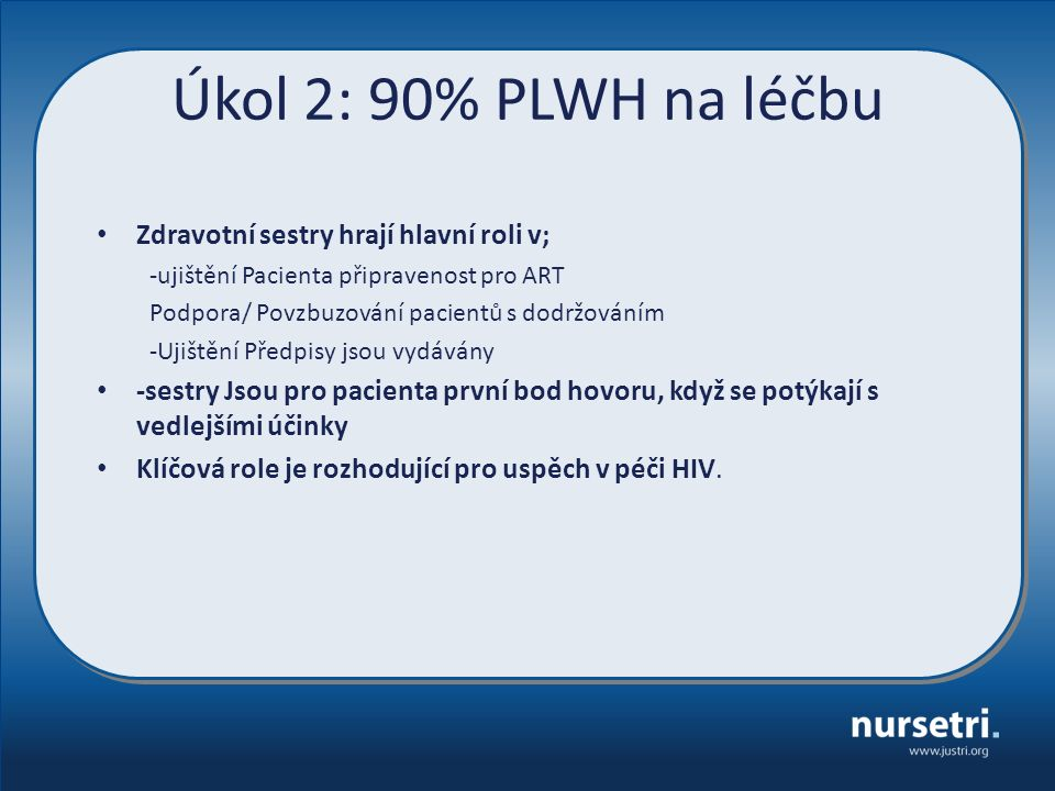 Úkol 2: 90% PLWH na léčbu Zdravotní sestry hrají hlavní roli v; -ujištění Pacienta připravenost pro ART Podpora/ Povzbuzování pacientů s dodržováním -