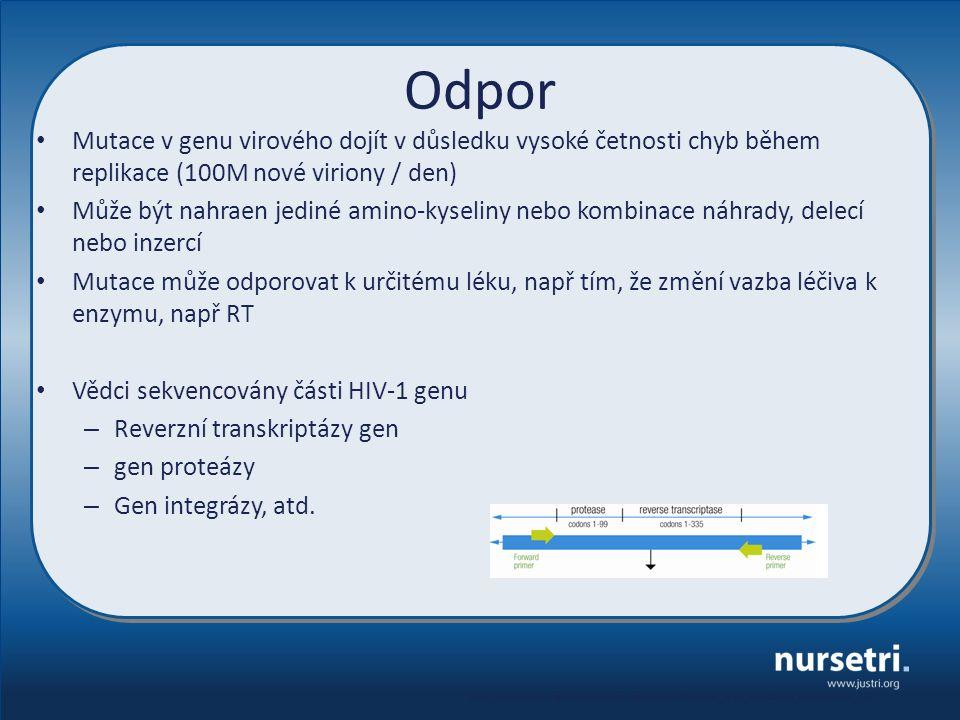 Odpor Mutace v genu virového dojít v důsledku vysoké četnosti chyb během replikace (100M nové viriony / den) Může být nahraen jediné amino-kyseliny ne