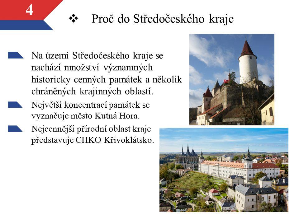 4 Na území Středočeského kraje se nachází množství významných historicky cenných památek a několik chráněných krajinných oblastí.