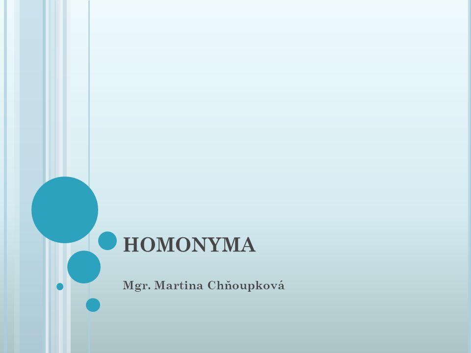 HOMONYMA Mgr. Martina Chňoupková
