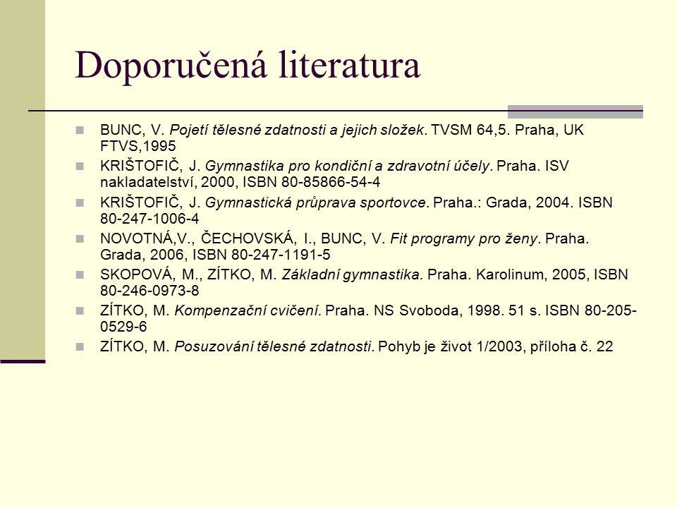 Doporučená literatura BUNC, V. Pojetí tělesné zdatnosti a jejich složek.