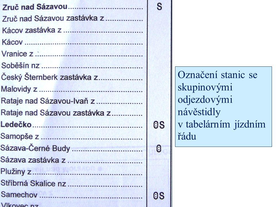 Označení stanic se skupinovými odjezdovými návěstidly v tabelárním jízdním řádu
