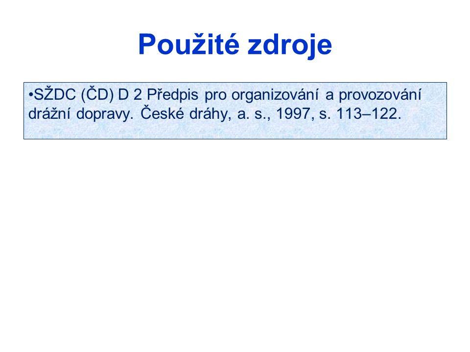Použité zdroje SŽDC (ČD) D 2 Předpis pro organizování a provozování drážní dopravy.