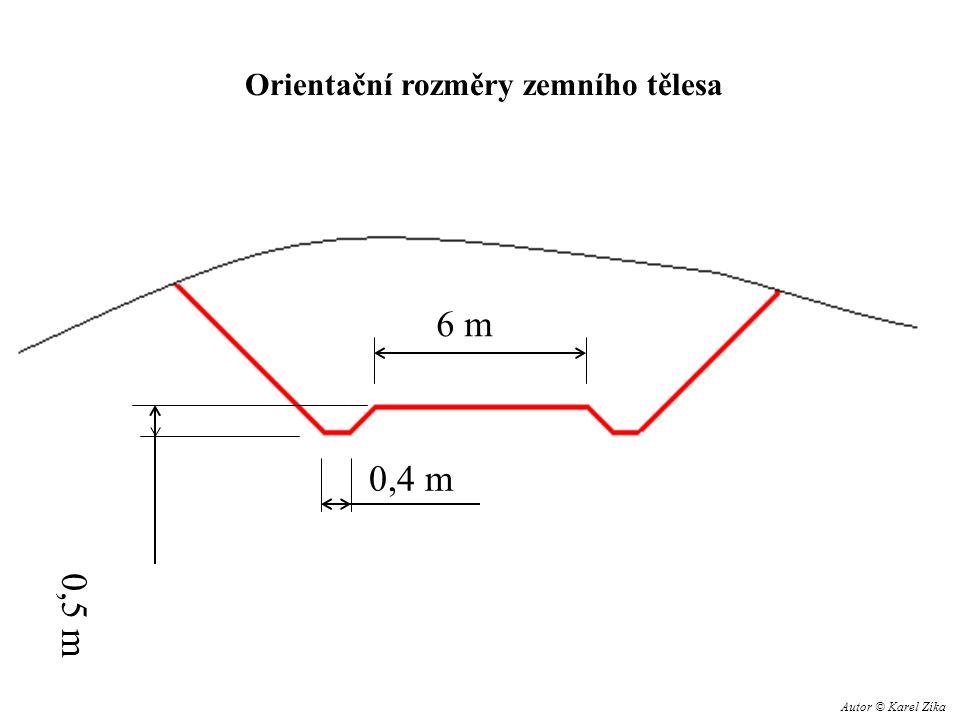 6 m 0,4 m 0,5 m Orientační rozměry zemního tělesa Autor © Karel Zíka