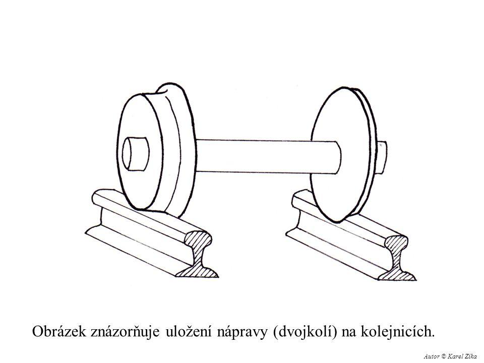 Obrázek znázorňuje uložení nápravy (dvojkolí) na kolejnicích. Autor © Karel Zíka