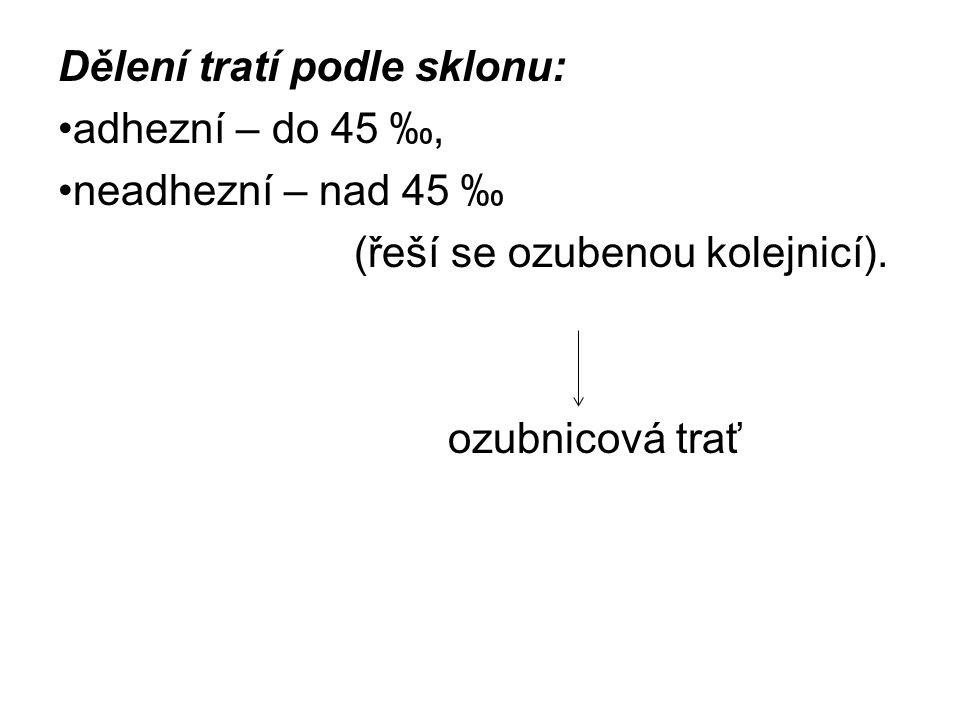 Dělení tratí podle sklonu: adhezní – do 45 ‰, neadhezní – nad 45 ‰ (řeší se ozubenou kolejnicí).