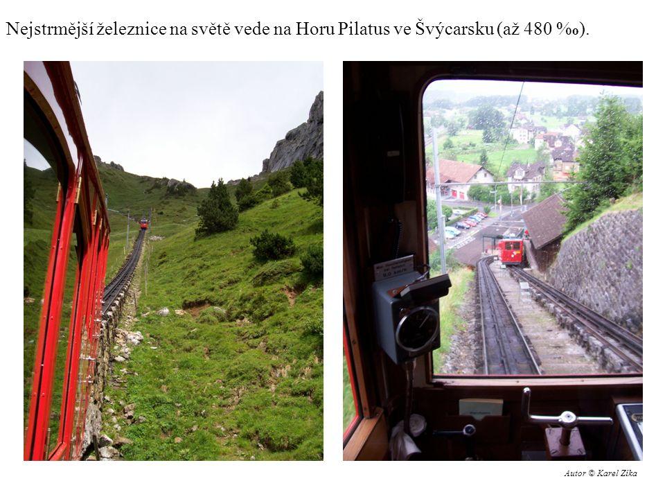 Nejstrmější železnice na světě vede na Horu Pilatus ve Švýcarsku (až 480 % o ). Autor © Karel Zíka