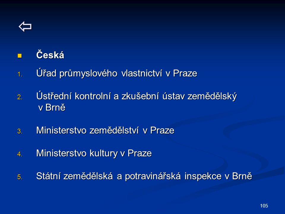 105  Česká Česká 1. Úřad průmyslového vlastnictví v Praze 2.