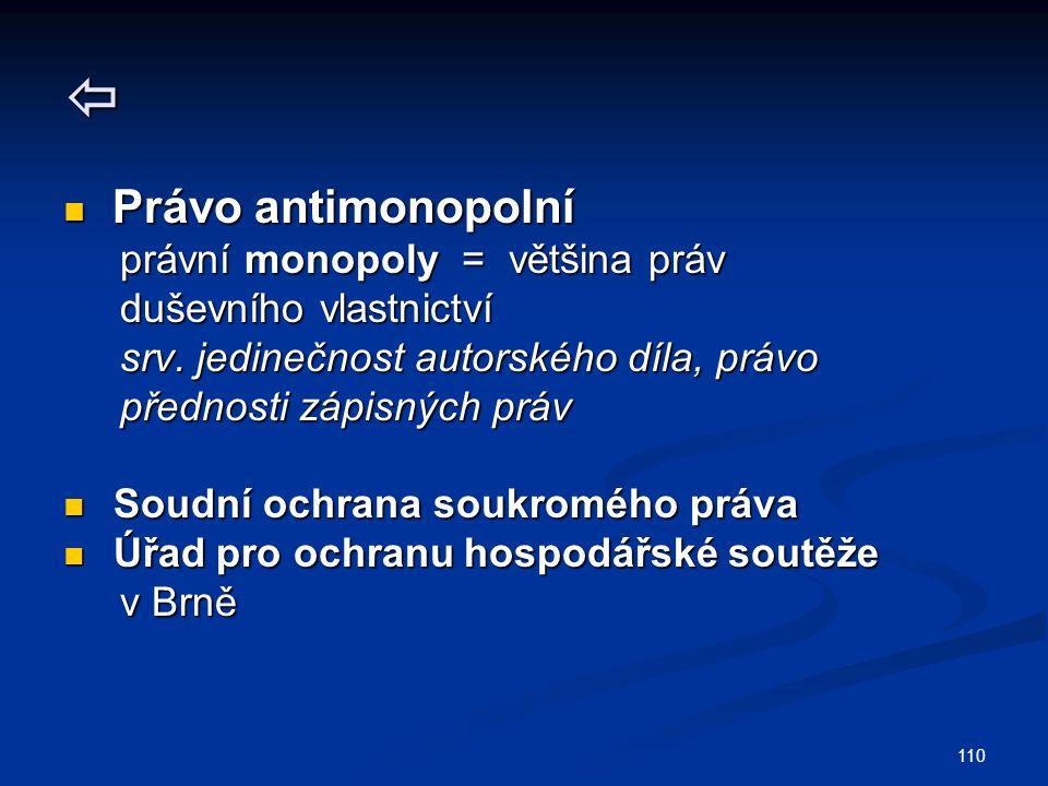 110  Právo antimonopolní Právo antimonopolní právní monopoly = většina práv právní monopoly = většina práv duševního vlastnictví duševního vlastnictví srv.