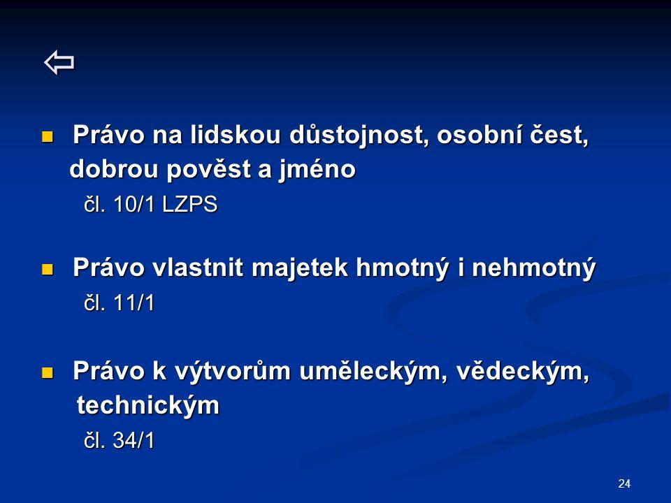 24  Právo na lidskou důstojnost, osobní čest, Právo na lidskou důstojnost, osobní čest, dobrou pověst a jméno dobrou pověst a jméno čl.