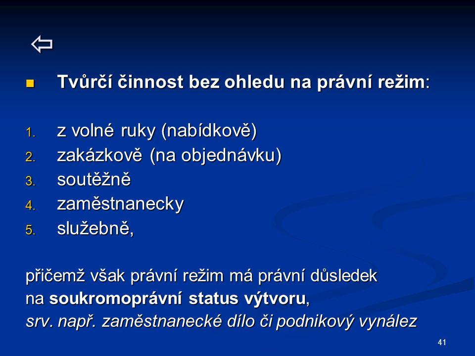 41  Tvůrčí činnost bez ohledu na právní režim: Tvůrčí činnost bez ohledu na právní režim: 1.