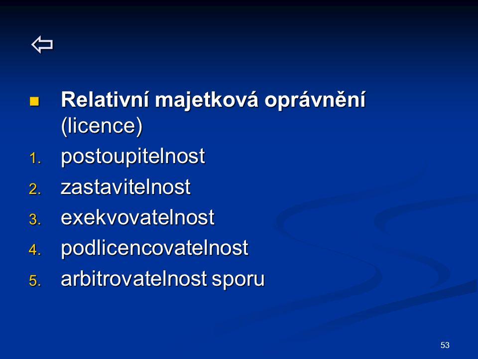 53  Relativní majetková oprávnění (licence) Relativní majetková oprávnění (licence) 1.