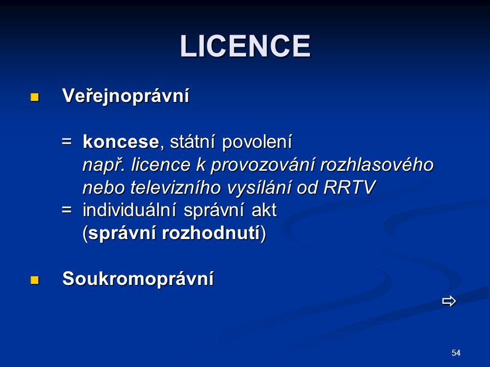 54 LICENCE Veřejnoprávní Veřejnoprávní = koncese, státní povolení = koncese, státní povolení např.
