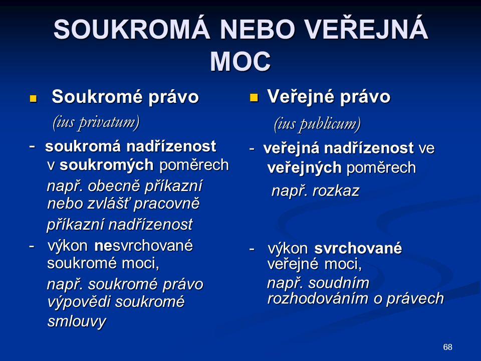 68 SOUKROMÁ NEBO VEŘEJNÁ MOC Soukromé právo Soukromé právo (ius privatum) (ius privatum) - soukromá nadřízenost v soukromých poměrech např.