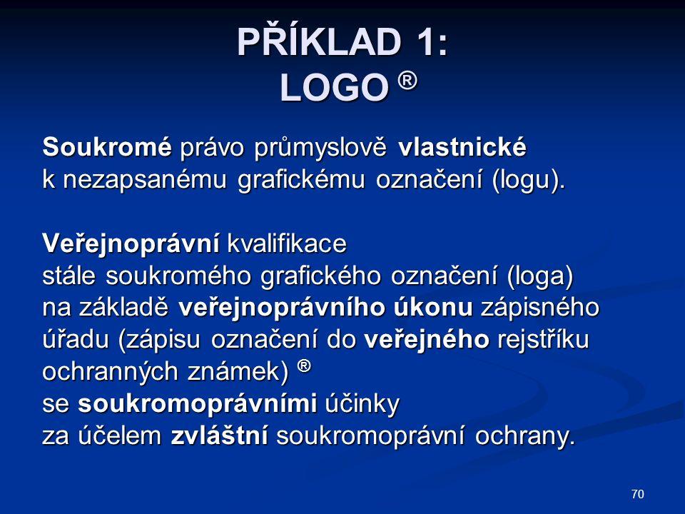 70 PŘÍKLAD 1: LOGO ® Soukromé právo průmyslově vlastnické k nezapsanému grafickému označení (logu).