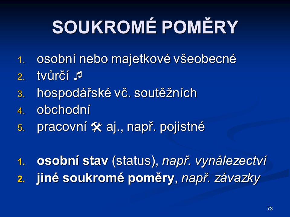 73 SOUKROMÉ POMĚRY 1.osobní nebo majetkové všeobecné 2.